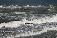 Fehmarn Sund this noon, storm tide is coming (freddyfehmarn) Tags: waves blue green water storm brigde baltic sea feeling