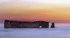 Sunrise at the Rock (Danny VB) Tags: percé gaspésie rocherpercé sunrise canon eos 7d ef70200mmf4lusm ocean atlantic seascape rock rockformation photo photography color colour