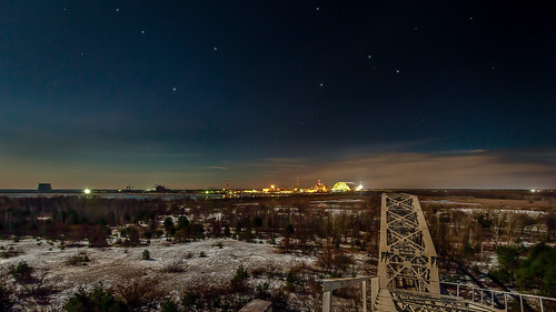 Starry night over the nuclear power plant