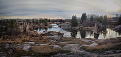 Old Pinawa Power Dam, Manitoba, Canada (creditflats) Tags: ruins dam manitoba canada whiteshell pinawa river power electrical hydro olympus pen ep5 sunset twilight granite canadianshield divert stream landscape north sky clouds forest scrub overcast composite pano panorama nik photoshop merge