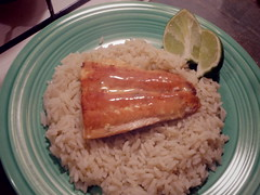 salmon and lime cilantro rice (EllenJo) Tags: fiestaware dinner food home kitchen salmon rice