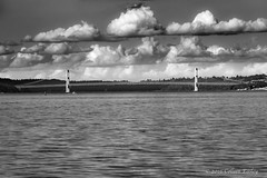 CLOUDS (Colleen Easley) Tags: bridge clouds tacoma water monochrome narrows