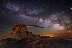 Standing Alone Through the Millennia (Wayne Pinkston) Tags: kow kingofwings badlands desert wilderness newmexico newmexicobadlands night sky nightsky nightphotography nightlandscape nightscape waynepinkston lightcrafter wwwlightcraftercom wwwwaynepinkstonphotocom stars starrynight starscape milkyway astrophotography galaxy cosmos theheavens landscapeastrophotography widefieldastrophotography longexposure