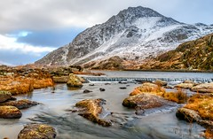 Mighty Tryfan (L A H Photography) Tags: mountain mountains snow snowdonia snowcappedmountain tryfan water river rugged wales rocks uk longexposure outdoor love light winter nikon nikond300 nationalpark