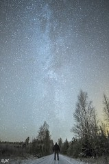 [the truth is out there] (- Man from the North -) Tags: night milkyway stars nature naturallight road stargazing nikon longexposure samyang nikond500 samyang14mmf28 wideangle highiso tree trees finland ostrobothnia westcoast snow winter frost greetingsfromfinland