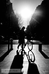 Riding into the sunset (wanderandclick) Tags: fujifilmx bicycle silhouette blackwhite xt1 street people urban city shadow bike streetphotography holiday streetlife light monochrome cyclist contrast spain barcelona travel dark fujifilmxt1 cycle fujifilm blackandwhite mono europe cycling xf35mmf2rwr catalunya es