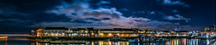 pier 39 midwinter  panorama (pbo31) Tags: sanfrancisco california night color dark bayarea city february 2017 winter boury pbo31 nikon d810 fishermanswharf black lightstream motion reflection bay water blue panorama large stitched panoramic pier39 seals sky clouds pier41 ferry sail