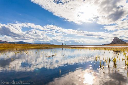 Walking along the Terkhiin Tsagaan Lake