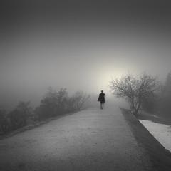 Ullanlinnanmäki (Vesa Pihanurmi) Tags: steetphotography road man figure character movement longexposure metaphysical metaphysics fog mist helsinki ullanlinnanmäki snow
