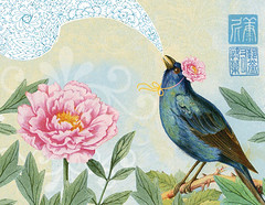 Illustration Friday - Song (Something To See) Tags: pink blue birds collage illustration song peony illustrationfriday
