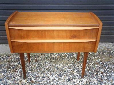 Danish teak side table w/2 drawers