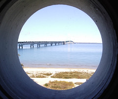 mackinac bridge thru port hole shot 2 (aplseed photography) Tags: travel water reflections scenery waterfoul unitedstates lakes rivers wetlands