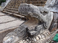 Mexico - Maya - Chichen Itza  - Serpent head on either side of priest temple. (blmiers2) Tags: old travel vacation pool stone mxico canon mexico mesoamerica other ruins maya yucatan powershot chichenitza yucatn mayan mayanruins ruinas mexique cancun serpent g6 archeology mayas chichen vacanza mexiko rutamaya yucatanpeninsula bello chichnitza chitzenitza mayans chickenitza chichenitz anciemt serpenthead catchycolorsgray chichenitzavacation institutonacionaldeantropologaehistoria chichenitzatravel tochichenitza blm18 blmiers2