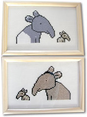 My Cross-Stitch Tapirs (skoop102) Tags: art animal animals zoo design crossstitch cross needlework stitch designer sewing crafts wildlife arts picture craft competition frame winner stitching material win aida tapir zoos competitions designed braziliantapir malayantapir tapirs