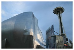 Gehry vs. Space Needle (jc_iverson (Imagery by Jordan)) Tags: seattle music architecture frank washington space gehry needle experiencemusicproject emp frankgehry