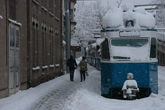 snowy tram (Dreamer7112) Tags: winter snow 20d schweiz switzerland europe suisse suiza ttc canon20d zurich tram canoneos20d snowing zrich svizzera trams zuerich winterwonderland eos20d zurigo vbz latemarchsnow recordsnowfall