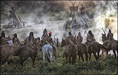 Making the Movie (shadowplay) Tags: camp horses painterly calgary backlight smoke alberta teepee nativeamericans makingthemovie kiowa lucis littlehouseontheprairie lucified filmformat