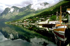 Aurland Harbor (Bev and Steve) Tags: mountains reflection water beautiful norway canon wow boats searchthebest explore velvia getty accept submit eos3 aurland top20reflections specland myexplore abigfave norwayquality