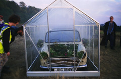 Greenhouse effect (helen.2006) Tags: road flowers film car protest mini negative greenhouse scanned newbury bypass greenhouseeffect greenpolitics newburybypassprotest artthreat 2378407