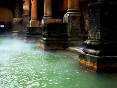 Brewing... (Trapac) Tags: winter england green water bath columns steam worldheritagesite pillars spa romanbaths greatbath aquaesulis withknautia explored thekingsbath flickrcollectionongetty