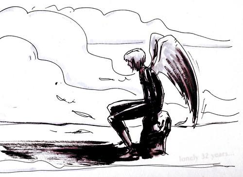 Sad Angel Drawing Sad Angel Draw Comic Art