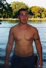 Nathan at the Fox River (Tobyotter) Tags: man male guy beach swimming illinois joel foxriver crystallake