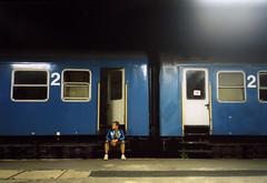 2 me 2 (DocZork - restless) Tags: blue night train hungary nacht zug bahnhof trainstation blau ungarn selftimer selbstauslser