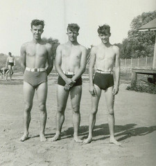Swimsuit Trio (Diogioscuro) Tags: shirtless man cute guy beach vintage swimsuit dws diogioscuro