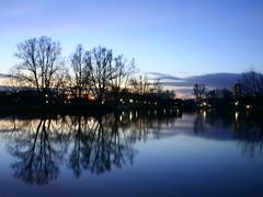 Lake Klotz (Mace2000) Tags: longexposure blue sunset lake reflection water catchycolors germany deutschland 350d dusk karlsruhe langzeitbelichtung wsr mace2000 unterwegsmituli lakeklotz guentherklotzanlage img0167 126sec ka20060405