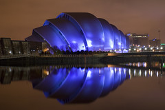 SECC at Night (ajnabeee) Tags: longexposure reflection water architecture river scotland riverclyde clyde long exposure glasgow concerts secc armadillo exhibitioncentre