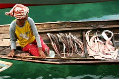 saitan (Farl) Tags: travel sea food woman fish water colors lady shark boat market muslim philippines fl