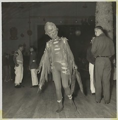 The Alien at the Sock Hop (Neato Coolville) Tags: halloween vintage photo alien snapshot creepy badge oldphoto martian
