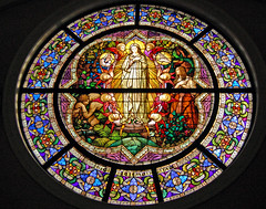 Stained glass window, St. Mary's Basilica, Phoenix (gwilmore) Tags: color church wow d50 interestingness stainedglass religiousart stmarysbasilica dantequote