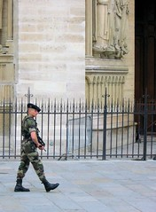 guarding the cathedral (wgdavis) Tags: paris france soldier guns camouflage beret boots notredame