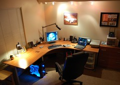 My computer desk on December 28, 2005 (Paladin27) Tags: desk computer laptop printer sennheiser logitech sony ibm thinkpad thermaltake nostromo desknote desktop nikon d50