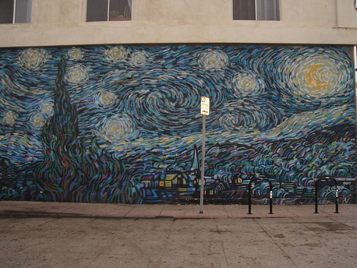 Van Gogh's starry night as graffiti