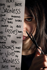 Cut the past (Violator3) Tags: selfportrait colour 1025fav sadness words nikon shadows cut d70s 100v10f womenonly violator3 hate illusions void cry doubt conceptual rebirth nocrop mybest past gaze scissor 500v happynewyear losses 20052006
