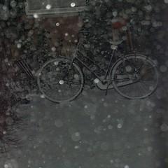 witte fiets (leo59) Tags: winter snow bicycle night square backyard nacht sneeuw leo59 sq fiets 105