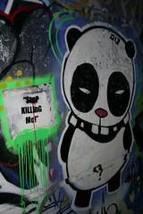 stop/panda (knautia) Tags: 2005 uk england streetart bristol graffiti stencil panda magic january flashed pillpath underthebridge nationalcyclenetwork ncn4 a3029 underthea3029 stopkillingme withtrapac