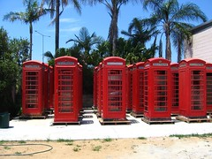 Phone boxes in the urban jungle (Tanya in BNE) Tags: 2005 xmas old uk red vacation england holiday metal digital canon fun interestingness interesting backyard phone telephone relaxing obsession brisbane adventure ixus qld boxes excitement mylife goodtimes albion phoneboxes aroundtheworld atouchoftheukinbrisbane
