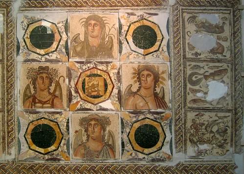 'The Four Seasons' Roman Mosaic by © Libyan Soup.