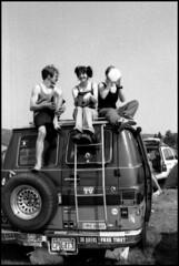 adam's van (pixietart) Tags: camping friends blackandwhite bw bus film water hippies vermont 1996 hippy glover van breadandpuppet breadpuppet thequeers