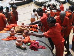 devotees bathe in the ganges (Kate and Neil) Tags: orange india bath bathe ritual hindu cermony varnasi