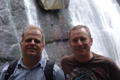 South Africa - Fred and Charles at waterfall in Hogsback