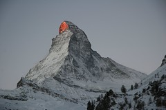 Alpenglhen on Matterhorn (Michael_CH) Tags: light shadow red mountain snow mountains alps 1025fav sunrise grey dawn switzerland topf75 swiss topv1111 topc75 peak 123 100v10f summit zermatt matterhorn 1on1 sunrising alpenglhen 2for2 fivestarsgallery
