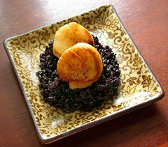 citrus-miso scallops with black sticky rice