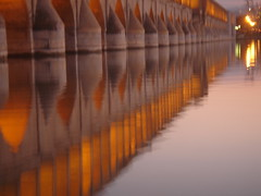 dusk (maybemaq) Tags: esfahan iran isfahan bridge reflection evening twilight red light tradition history architecture water river siosehpole