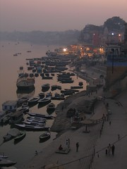 Sunset from Room (Funky Chickens) Tags: india ganges ghats uttarpradesh varnasi