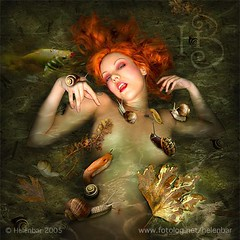 pre-raphaelite (helenbar) Tags: portrait selfportrait water photomanipulation photoshop self digitalart snails waterhouse ophelia preraphaelite helenbar helenadebarros