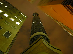 Telecom Tower 1 (Dave Gorman) Tags: city uk london tower night concrete bravo landmark fv5 architect british tall bttower 1961 telecom postofficetower 1965 telecomtower gryeats 189m 620ft 60clevelandst ericbedford fbps